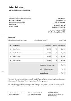 Rechnungsvorlage für Kleinunternehmer