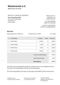 Rechnungsvorlage für Vereine