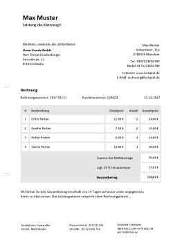 Rechnungsvorlage für Freiberufler