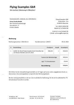 Rechnungsvorlage für Musiker