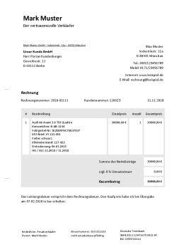 Rechnungsvorlage für Autoverkauf