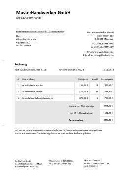 Rechnungsvorlage für Handwerker
