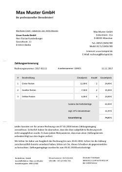 Vorlage für Zahlungserinnerung